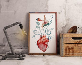 Pink Floyd The Wall Flowers  Archival Paper poster   Wall decor  Rock music   Watercolor painting  Anatomical heart   Roger Waters Zuska Art