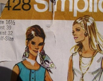 1971 Simplicity Pattern 9428, Tunic, Pants, and Wriap-skirt.  Size 16 1/2