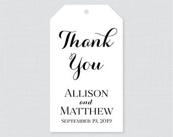 Printable OR Printed Wedding Favor Gift Tags - Black and White Favor Tags for Wedding, Personalized Wedding Gift Tags, Thank You Tag 0005
