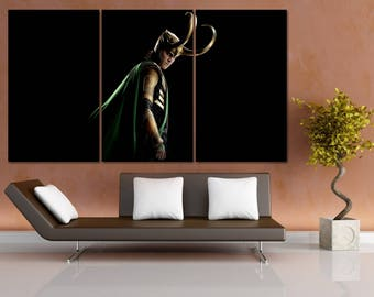 Loki Canvas Print, Marvel Movie Framed Wall Art, Comic Poster, Thor Movie, Tom Hiddleston,  Hand Made in Europe for Home and Office_LC100