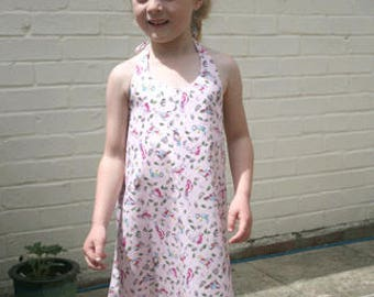 Girls halterneck summer dress, Pink, cotton dress, Garden bird summer dress, beachwear, holiday