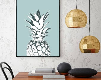 PINEAPPLE POSTER - Fruit Print - Tropical Print - Pineapple Print - Pineapple Wall Art - Pineapple Art- Printable Art - Wall Decor Poster