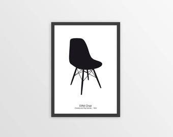EAMES CHAIR PRINT - Chair Print - Chair Art - Eames Chair Poster - Minimalist Wall Art - Black and White - Design Icon Print - Retro Print