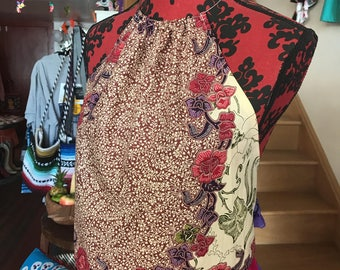 Batik Print Halter Top Frida Kahlo Inspired - Upcycled Fabric