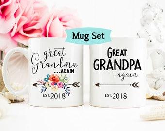 Pregnancy Announcement Great Grandparents Again, Baby Reveal Great Grandparents Mug, Floral Mug, Great Grandparents Pregnancy Announcement