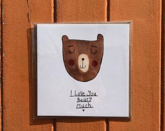 I Love You Beary Much Bear Birthday Romantic Cute Greetings Card