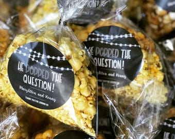 He Popped the Question Popcorn Stickers | Engagement Party Favors | Popcorn Favors | Wedding Popcorn Favors | Popped the Question