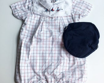 Baby Boy 6-12 Month White Bubble Jumper with Red and Blue Check Stripes by Janie and Jack, Matching Hat, Buttoned Panel w/ Embroidered Boats