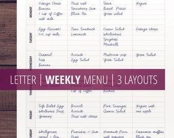 Weekly Menu Printable/ Weekly Meal Planner / Letter Size/ Flylady's Menu Plan / Clean Minimalist Zen / Menu Planning / Diet / Download