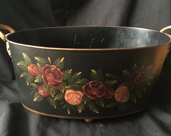 Vintage Tole Painted Planter