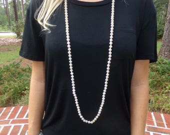 Pearly double wrap necklace, cream double wrap necklace