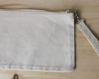 Custom hand painted wristlet zip pouch