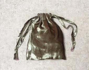 smallbags pink highlights - mixed cotton bag - zero waste green beige smooth silk velvet