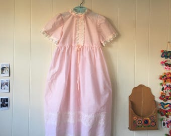 1960's light pink eyelet maxi dress with ruffle trim - size 6