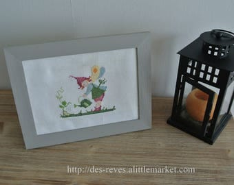 Frame - Embroidery - fairy in her garden