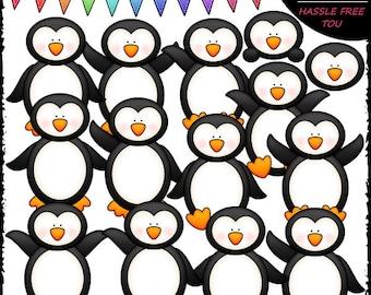 Plain Penguins Clip Art and B&W Set