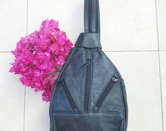 BLACK VINTAGE BACKPACK • Vintage Leather Backpack • Black leather handbag• Black Vintage bag •1990s Bag • Small leather backpack • Purse
