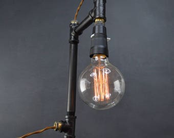 AMPERE black + bronze pipe lamp