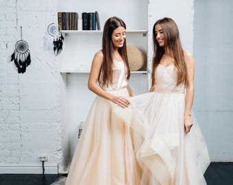 Unique Blush Pink Princess Wedding Dress With Ombre Skirt, 2018 by Boom Blush.