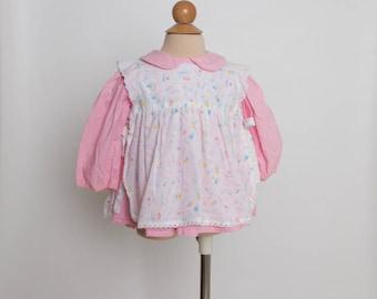 vintage 80s girl's pinafore dress with peter pan collar