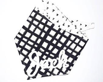 The Jack - Monochrome - Dog Bandana - Black & White bandana - Personalised dog bandana - dog neckerchief- Bandana- Pet Neckwear