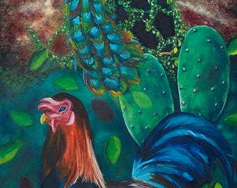 "10x24"" painting print peacock, rooster, cactus, India treehouse windmill, dream, blue green night, original, Irish, Auroville birds nature"