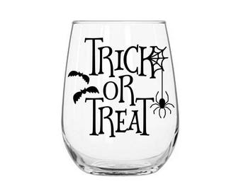 Trick or Treat Decal - Halloween Decal - DIY Halloween Party - Halloween Wine Glass Decal - Halloween Party Decal - Halloween Party Favors
