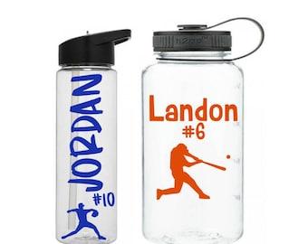 Sports Water Bottle, Baseball Water Bottle, Personalized Sports Bottle, Sports Team Gift, Sports Party Favors, Baseball Gift, Sports Tumbler