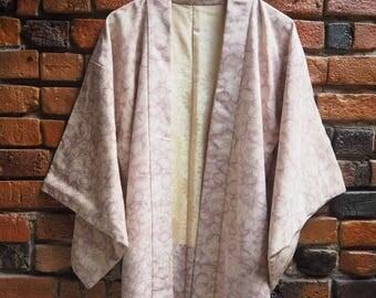 Women's 40s 50s Lilac Light Purple And White Swirly Print Pattern Silk Japanese Kimono Jacket Size Small Medium