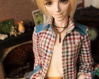 BJD SD plaid shirt with long sleeve