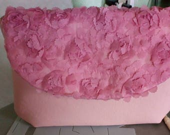 Pink Faux Leather Clutch Bag
