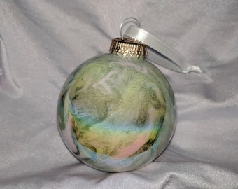 Hand painted opalescent glass ornament