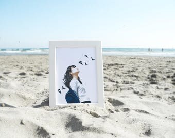 Freedom - Art, drawing, print, illustration, portrait
