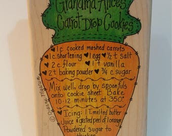 Carrot Drop Cookies Rubber Stamp - New