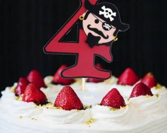 Pirate Cake Topper, Cake Topper, Birthday Cake Topper, Pirate Birthday, Boy Birthday, Age Cake Topper, Pirate Centerpiece, Pirate Decoration