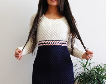 70s Union Made Bubble Knit Maxi, Red White & Blue Longsleeve Dress