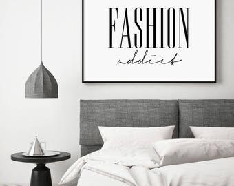 Fashion Addict, Fashion Addict Print, Fashion Addict Landscape, Motivational Modern Print, Prada Printable, Typography Black and White