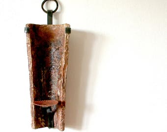 5 unique design candle holders - iron forged old rustic mediterranean roof tile clay sconce