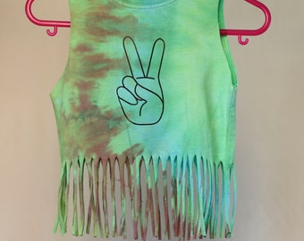 Children's Size 1 - Peace Sign Fringe Singlet - Ice Tie Dye - Ready To Ship - 100% Cotton - FREE SHIPPING within AUS