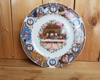 Vintage Leonardo da Vinci Last Supper Collectible Plate Made in Japan Jesus Gift for Christians Catholics Baptism Gift