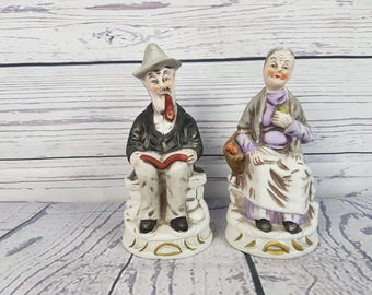 Vintage Set of 2 Old Man and Woman Porcelain Statues Figurine Decoration Home Decor Shabby Cottage Chic French Country Made in Taiwan