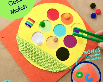 Color Match Quiet Book Page for TinyFeats Busy Book- Best Educational Toy for Toddlers - Learn Colors - Fine Motor Skills Tweezer Activity