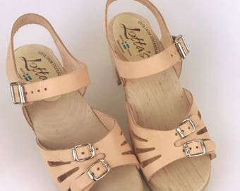 Lotta *one off SPECIAL SAMPLE* Swedish Clogs Natural Cut Out Buckle EUR 38 by Lotta from Stockholm / Wooden Clogs / Sandals /