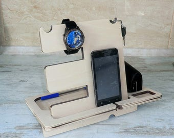 Personalized Docking Station Docking Stand Iphone docking Wooden Stand Personalized Gift for Him for men