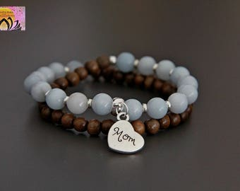 Aquamarine Greywood Wrist Mala-Beaded Bracelet-Mom Silver Charm-Mother Maternity Pregnancy Jewellery-Yoga-Boho-Intention Bracelet-Gemstones