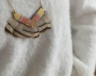 Necklace-necklace-LITONYA-ethniquechevron-leather Cork-feathers