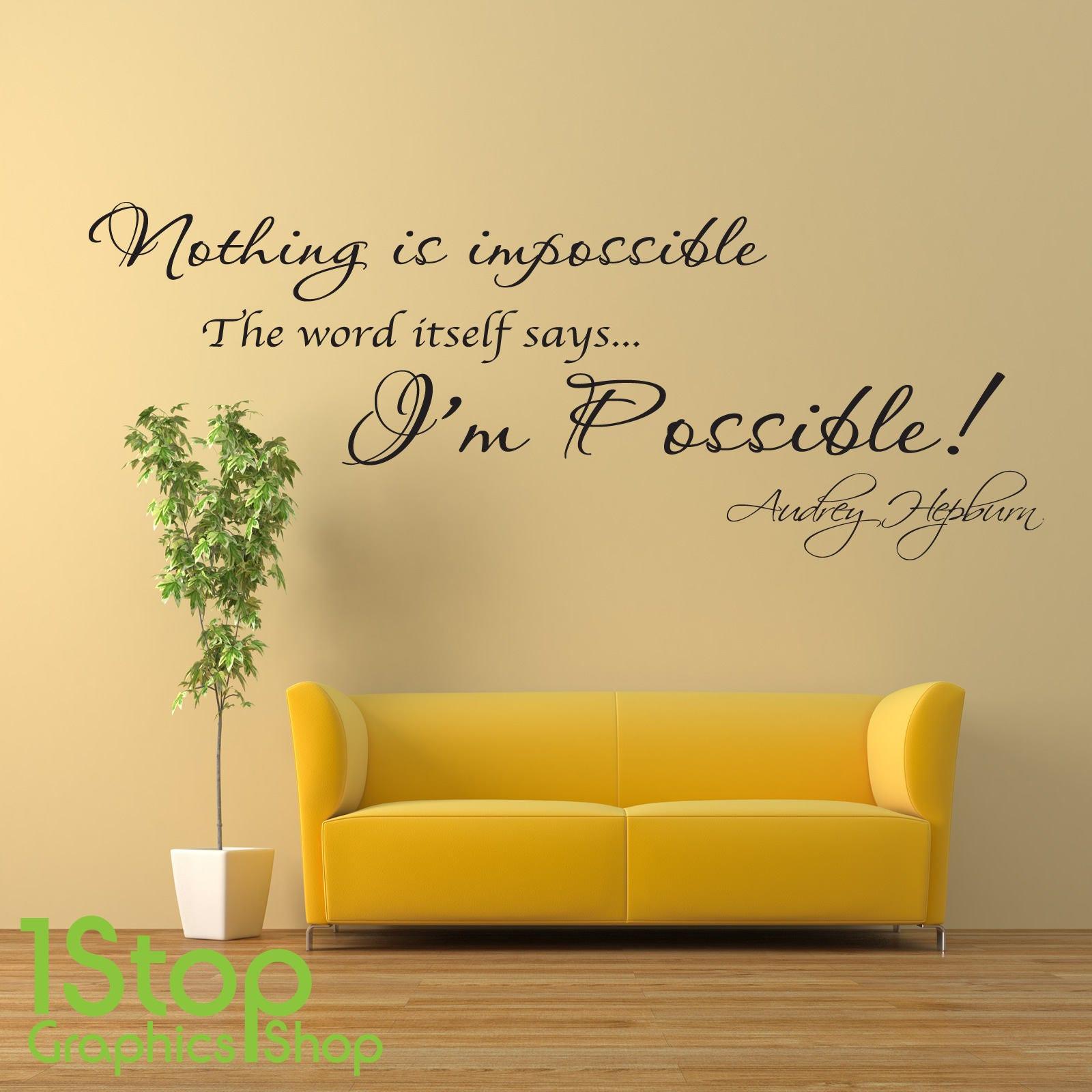 Audrey Hepburn Wall Sticker Quote Home Bedroom Wall Art Decal X74