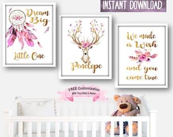 Boho Art Print, Boho Dream Catcher, Boho Floral Set, Boho Nursery Decor, Girls Boho Print, Boho Deer Print, Dream Catcher Art Watercolor