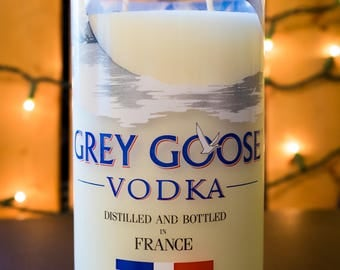 Grey Goose Vodka Liquor Bottle Soy Candle - Double-Wicked