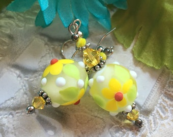 SALE - Yellow Flower/Floral Earrings, Lampwork Jewelry, SRA  Lampwork Earrings, SRA Lampwork Jewelry, Gift, Mothers Day, Gift For Her